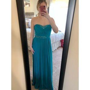 Aqua blue sparkly strapless dress
